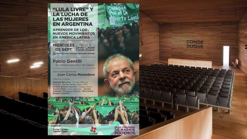 Sala del Ayuntamiento y el cartel del evento.