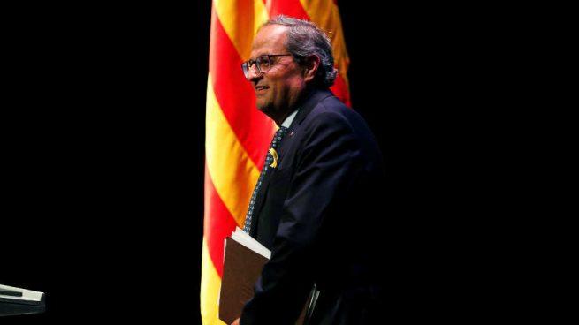 El presidente de la Generalitat Quim Torra desde el escenario de su discurso de Barcelona