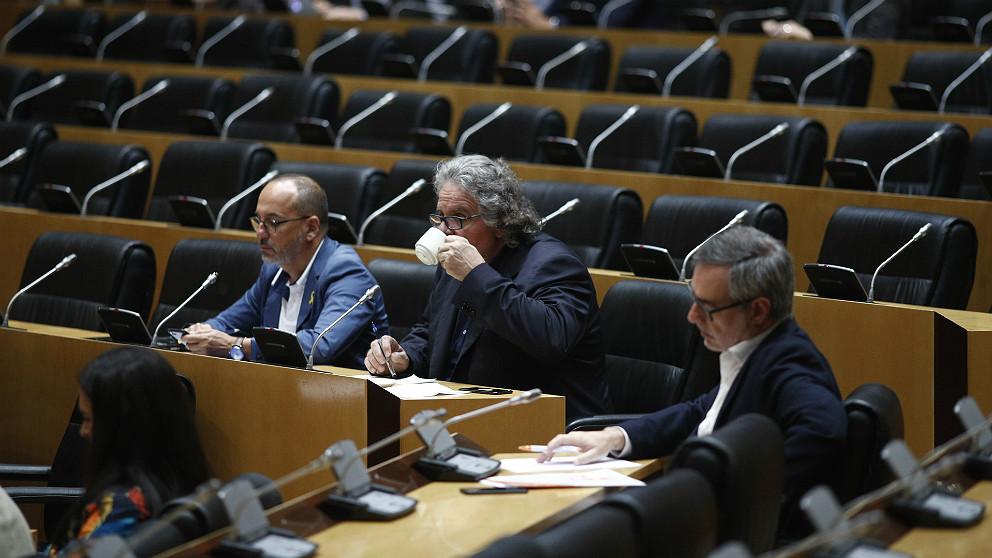 Carles Campuzano (PDeCAT), Joan Tardà (ERC) y José Manuel Villegas (C's). (EP)