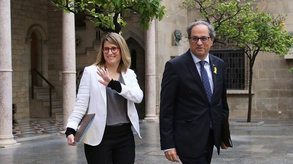 Elsa Artadi y Quim Torra, en el Palau de la Generalitat. (EP)
