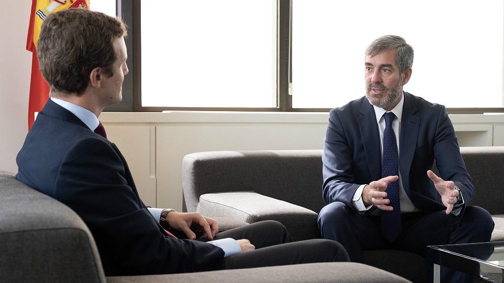 Fernando Clavijo, reunido con Pablo Casado en la sede del PP. (EP)