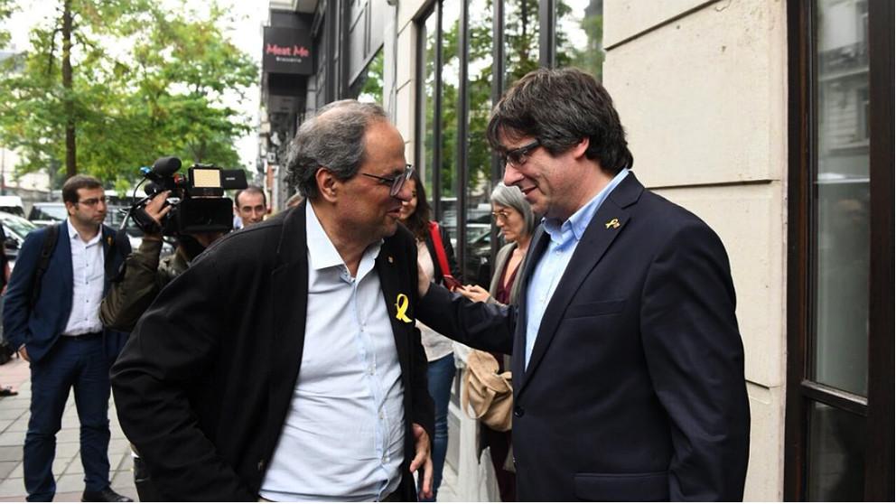 Quim Torra y Carles Puigdemont, en Bruselas. (TW)