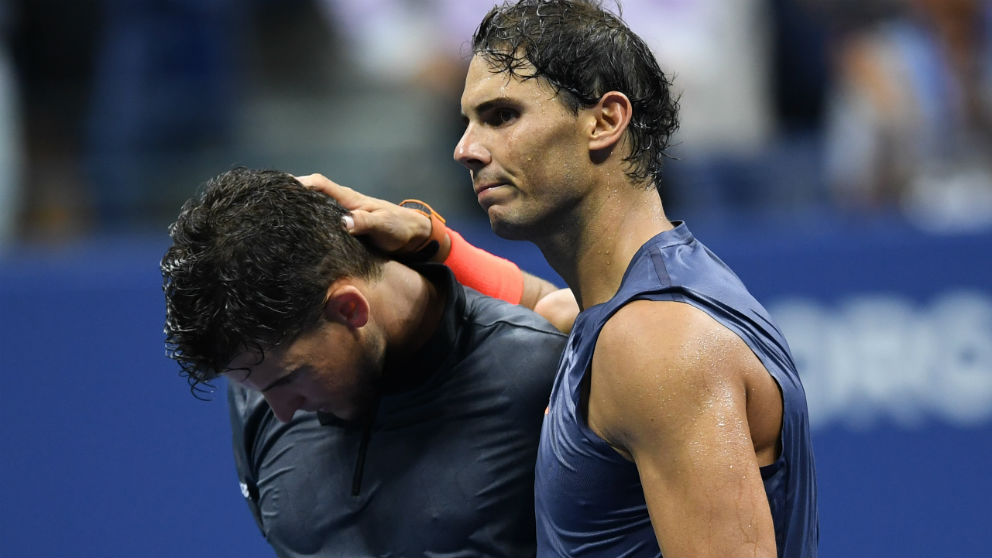Rafa Nadal y Dominic Thiem tras su partido en el US Open. (AFP)