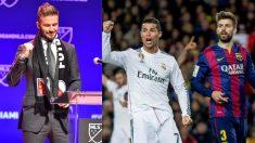 David Beckham, Cristiano Ronaldo y Gerard Piqué.