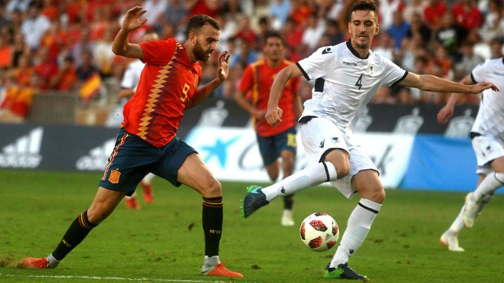 Borja Mayoral durante el España – Albania sub-21. (EFE)