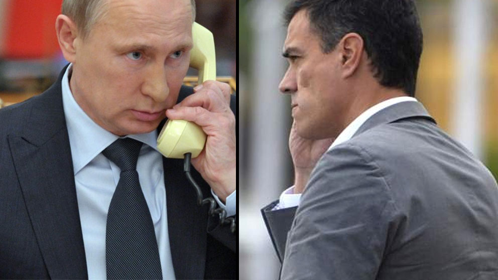 Vladimir Putin y Pedro Sánchez, presidentes de Rusia y España.