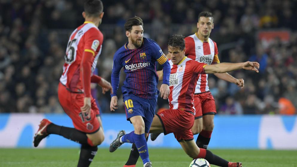 Leo Messi, durante el Barcelona – Girona. (AFP)