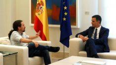 Pedro Sánchez y Pablo Iglesias reunidos en Moncloa en una imagen de archivo.