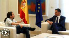 Pedro Sánchez y Pablo Iglesias reunidos este jueves en Moncloa