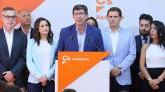 El presidente de Ciudadanos en Andalucía, Juan Marín, junto a la cúpula del partido. Foto: Europa Press