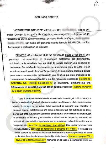 Fragmento de la denuncia interpuesta por el alto cargo del gobierno de Revilla ante la Guardia Civil
