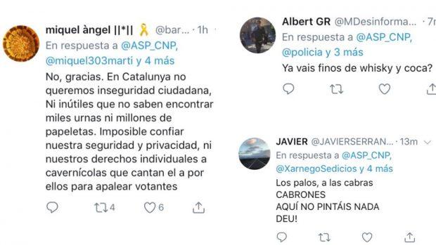 """Campaña independentista de acoso a los policías enviados a Cataluña: """"¡Ratas, ya vais finos de coca!"""""""
