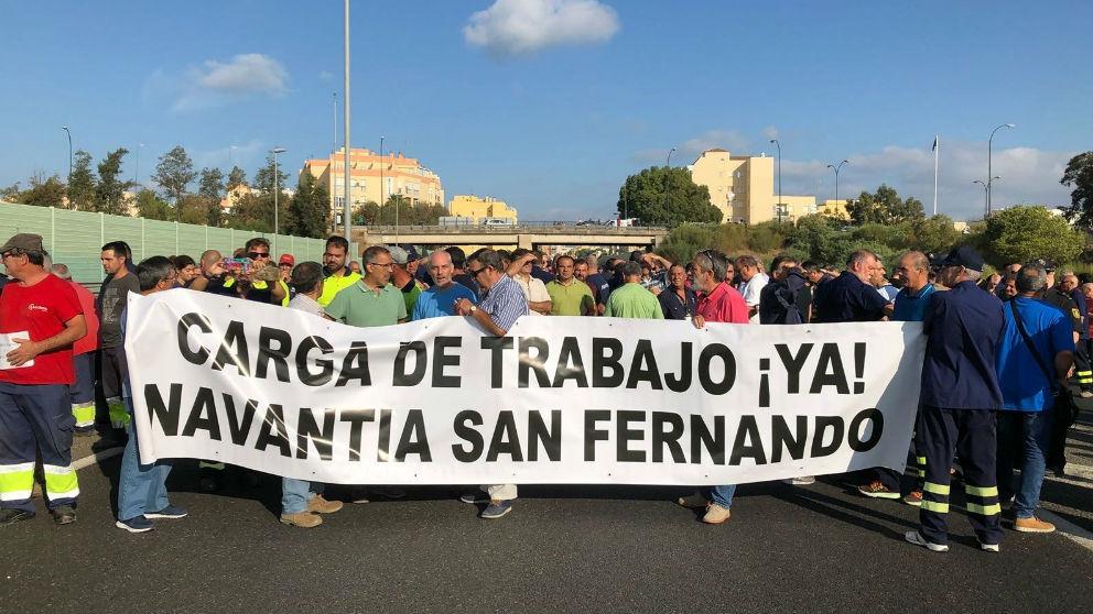 Trabajadores del astillero de Navantia en San Fernando