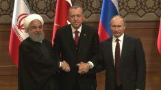 Hasan Rohani, Recep Tayyip Erdogan y Vladimir Putin, en Teherán. (TW)