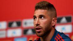 Sergio Ramos, durante una rueda de prensa. (Getty)