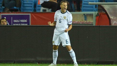 Cheryshev, celebra un gol con Rusia. (AFP)