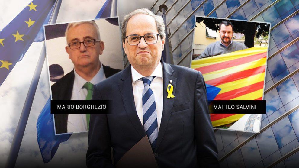 El eurodiputado Mario Borghezio, el presidente Quim Torra y Matteo Salvini, el racista que dirige la Liga Norte.