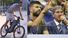 Piqué, con su bicicleta eléctrica y en un torneo de tenis.