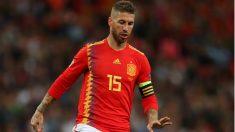 Ramos, durante el Inglaterra – España. (Getty)