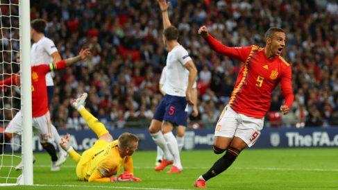 Rodrigo celebra su gol ante Inglaterra. (Getty)