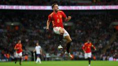 Saúl celebra un gol con España. (Getty)