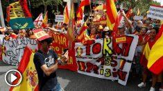 Imagen de la manifestación de este domingo en Barcelona (Foto: EFE).