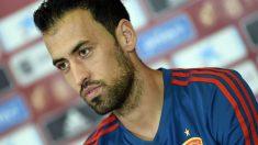 Sergio Busquets, durante la rueda de prensa. (AFP)