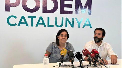 Conchi Abellán, portavoz, y Jaume Durall, secretario de Organización de Podem Catalunya. (EP)