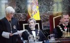 El Rey Felipe VI, el presidente del CGPJ, Carlos Lesmes, y la fiscal general del Estado, María José Segarra, durante la apertura del año judicial.
