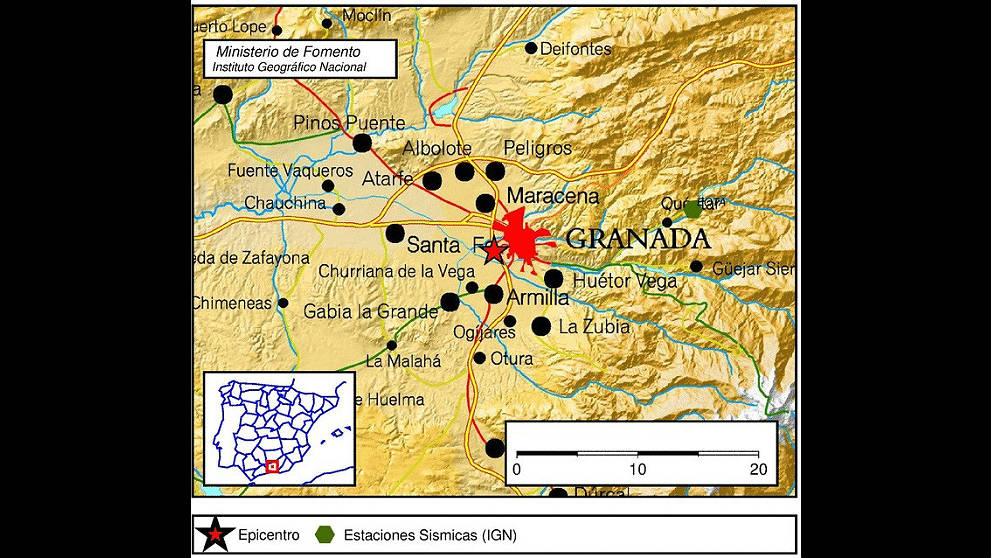 Mapa de los tres terremotos en Granada del IGM.