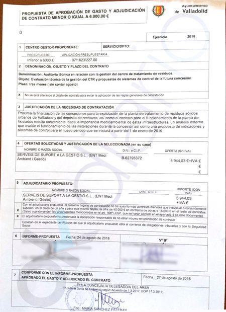 Expediente de la adjudicación del Gobierno de Puente a la empresa de Ignasi Puig Ventosa.