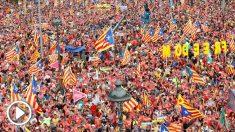 Vista general de la manifestación independentista convocada para esta tarde por la ANC con motivo de la Diada del 11 de septiembre, que recorrerá las calles de Barcelona. EFE/Alejandro García