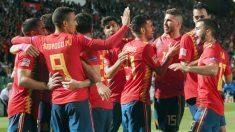Los jugadores de España celebran un gol ante Croacia. (EFE)