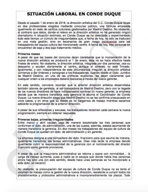 Ola de bajas laborales en el Conde Duque de trabajadores hartos con los directivos de Carmena