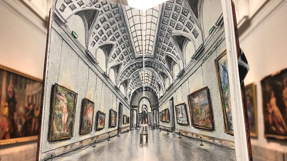 El Museo del Prado visto desde la libreta de dibujo de la artista Andrea Reyes. Foto:@AudreyRdP
