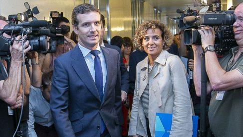 Pablo Casado y Dolors Montserrat. Foto: Europa Press