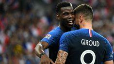 Pogba y Giroud celebran un gol con Francia. (AFP)