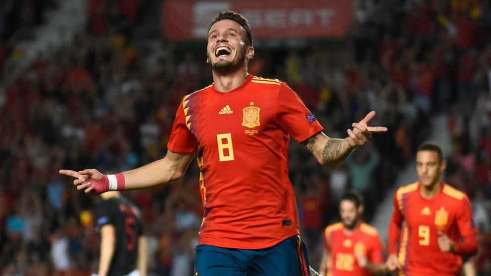 Saúl celebra un gol con la selección española. (@UEFAEURO)