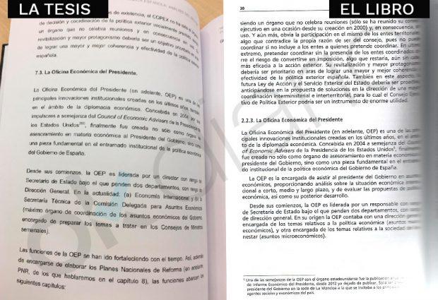 Pasajes idénticos sobre la OEP en la tesis y el libro. (Fuente: OKDIARIO)