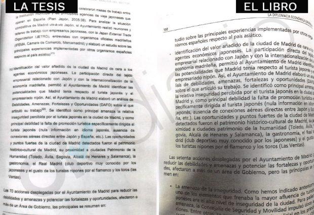 Fragmento de la investigación de Sánchez con la errata y el libro firmado junto a Ocaña. (Fuente: OKDIARIO)