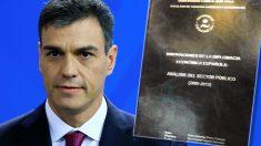 Pedro Sánchez y la portada de su tesis.