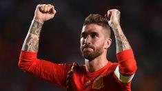 Sergio Ramos celebra la victoria ante Croacia. (Getty)