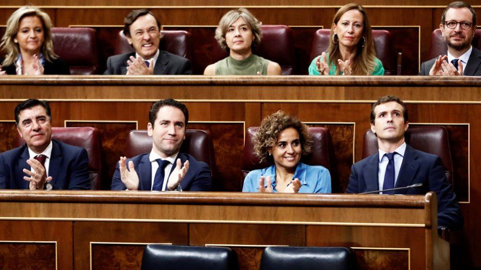 Bancada del Grupo Popular en el Congreso de los Diputados, con Pablo Casado al frente. (Foto. EFE)