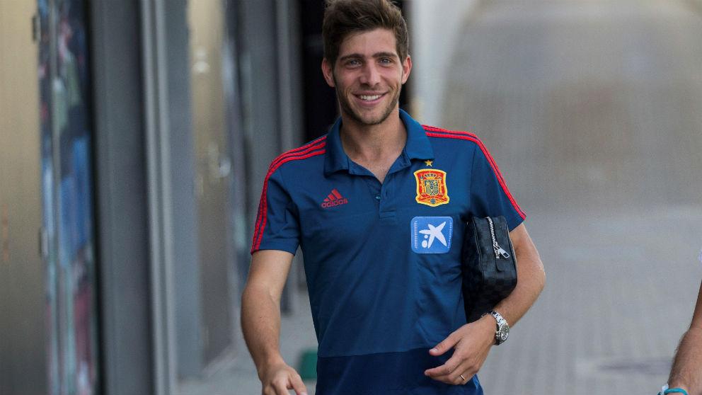 Sergi Roberto, en la concentración de España. (EFE)