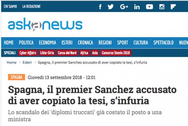 'Le Figaro' y otros medios europeos difunden la exclusiva de OKDIARIO sobre la tesis de Sánchez