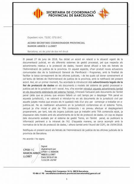 Escrito oficial de la Secretaría de Coordinación Provincial de Barcelona con el escudo de Cataluña y Barcelona (2018).