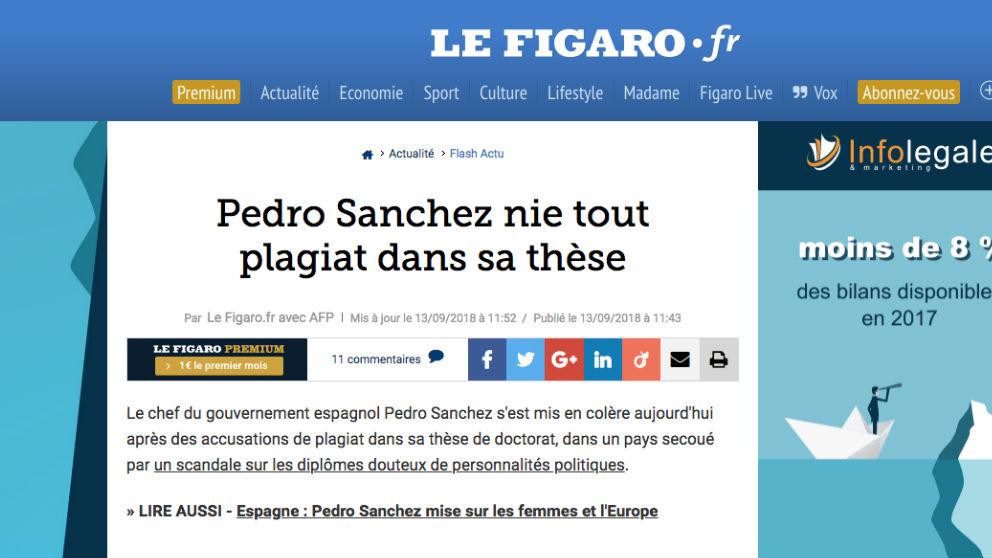 La noticia de 'Le Figaro' que informa sobre la exclusiva de OKDIARIO