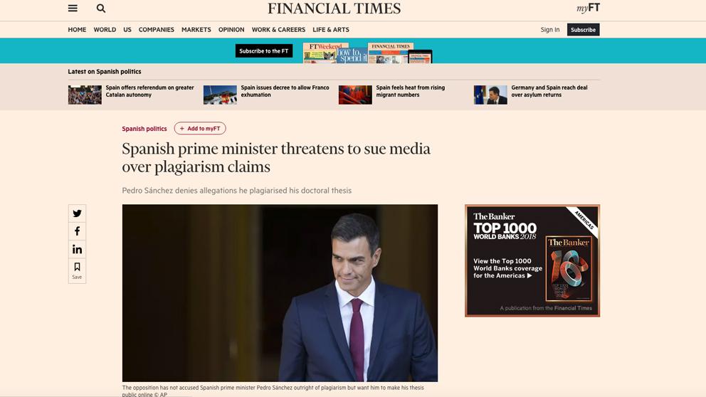 La amenaza de Pedro Sánchez a OKDIARIO en 'Financial Times'.