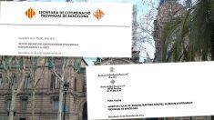 Escritos oficiales de la Secretaría de Coordinación Provincial de Barcelona con el escudo y sin el escudo de España.