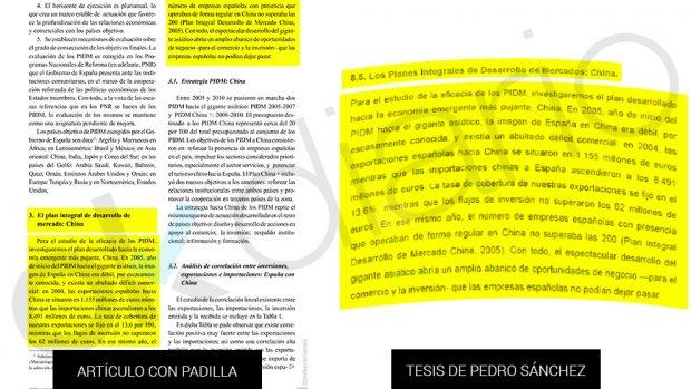 Un párrafo entero de la tesis de Sánchez que ya figuraba en un artículo escrito junto a Padilla. (Fuente: OKDIARIO)